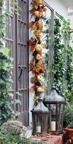 Fall garland and lanterns