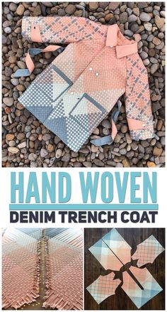 Woven Denim Trench Coat - Mister Domestic Coat Patterns, Weaving Patterns, Denim Trench Coat, Fabric Origami, Origami Fashion, Jumpsuit Pattern, Bias Tape, Weaving Techniques, Fabric Manipulation