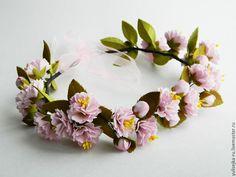 """Купить Веночек на голову """"Цветущая сакура"""". из фоамирана - розовый, венок на голову, веночек на голову, сакура"""