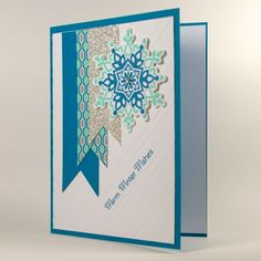Icy Cool Snowflakes Featured Handmade Christmas Or Winter Holiday Card | cardsbylibe - Cards on ArtFire