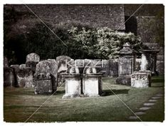 headstones in england - Weathered headstones in an English cemetery