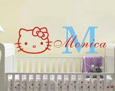 Kids Personalized Name HELLO KITTY Wall Sticker Art Vinyl Cut Decals for kids nursery girls Room KW-165