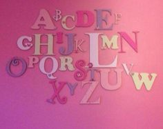 Wooden Alphabet letter Set - perfect for any nursery. All our wooden alphabets are hand painted to your specifications & we can colour match. Order here: www.moomoo-memories.co.uk