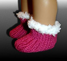 1 hour slippers socks knit pattern for American Girl dolls