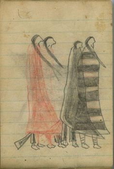 Plains Indian Ledger Art: Wild Hog Ledger-Schøyen - COURTING: Two Couple Walk Together; One Woman Wearsh Navajo Chief's Blanket (1st Phase with Red)