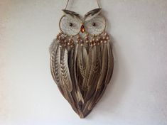 Owl Dreamcatcher - Made to Order - Glitter Sand Single Feather Owl Dreamcatcher