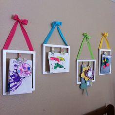 Ideas For Diy Art Display Kids Hanging Artwork Hanging Artwork, Artwork Display, Display Wall, Display Boards, Diy Canvas Art, Diy Wall Art, Kids Room Art, Art For Kids, Art Children