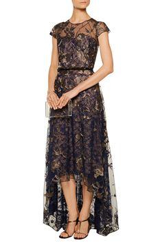 Marchesa NotteMetallic embroidered lace gownfront