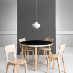 Artek Table 90A, Chair 66 and Pendant Light A333. Alvar Aalto. Photo @artekglobal #artek #anibou