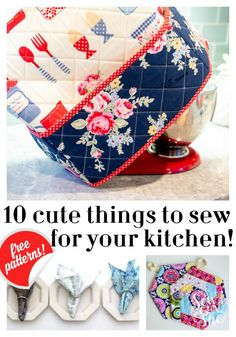 Sew a coordinating kitchen with free sewing patterns a mixer cover, potholders, aprons, napkins, and more. Cute Sewing Projects, Sewing Projects For Beginners, Sewing Hacks, Sewing Tutorials, Sewing Crafts, Free Tutorials, Sewing Ideas, Crafts To Sew, Sewing Machine Projects