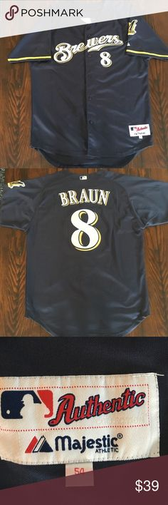 MILWAUKEE BREWERS NAVY RYAN BRAUN JERSEY⚾️⚾️⚾️⚾️⚾️ This will be a perfect gift for your favorite baseball fan 🎄🎄🎄 This is a men's authentic Majestic Jersey in excellent condition with no signs of wear or tear. Color is a navy blue and it is a size 54. All names numbers logos and patches are sewn on. Thank you for looking Angel 💙💙💙💙 Majestic Other
