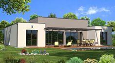 Ce tout nouveau modèle avec ses lignes contemporaines présente un toit terrasse qui renforce la sensation de volume et confère à cette maison un style mo