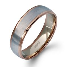 LG116 14K White and Rose Gold Gents Wedding Band from Simon G - Gold and Gems