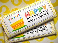 {Free Printable} Happy Birthday Candy Bar Wrapper check out all the other printables for holidays etc. Birthday Chocolates, Birthday Candy, Birthday Gifts, Free Birthday, Sons Birthday, Birthday Ideas, Birthday Parties, Candy Bar Wrapper Template, Candy Bar Wrappers