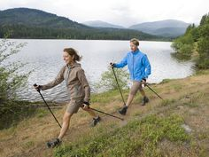 Points to consider before buying fitness walking poles or trekking poles, including whether to buy a single walking stick or a pair of poles.