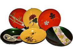 Retro Lacquerware Plastic Bowls   Asian Flair   Set Of 6   Bold Color  Leaves   Ladybugs   Bamboo   Flowers Photo Gallery
