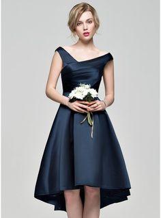 A-Line/Princess Off-the-Shoulder Asymmetrical Satin Bridesmaid Dress With Ruffle
