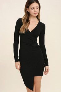 Love Me Completely Black Long Sleeve Bodycon Dress at Lulus.com!
