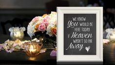 """""""We know you would be here today if heaven wasn't so far away...""""Trouwfeest Krijtbord  Geef jullie overleden dierbaren een mooi plekje op de bruiloft. Order at the weddingprints.nl store."""