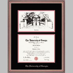 embossed uga lithograph arch print mahogany diploma frame this church hill mahogany diploma frame features