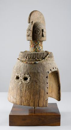 Africa | Mask from the Wurkun people of the Benue River region of northern Nigeria | Wood, glass beads and fiber