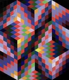 Squares Composition 1968-84 by Victor Vasarely (screenprint)