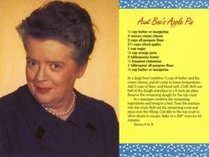 Mayberry Aunt Bee's Apple Pie Recipe Postcard | Flickr - Photo Sharing!