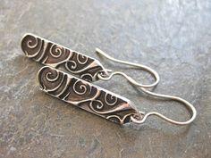 Modern Swirl Earrings Fine Silver Metal Clay
