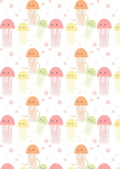 FREE printable nautical jellyfish pattern paper | by meinlilapark