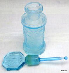 Sky Blue Perfume Bottle w/Stopper Etched Glass Antique Art Nouveau