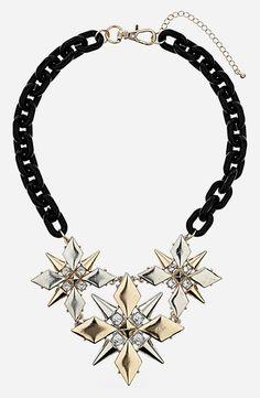 Feminine + edge: Topshop Spike Flower Collar Necklace