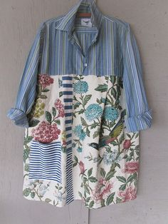 Upcycled dress spring tunic linen dress wearable art blue