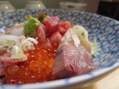 Kaisendo(bowl of rice topped with sashimi )nat Tsukiji in Tokyo.2014/05