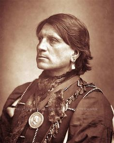 """Portrait of Red Shirt wearing shirt and vest and medallion around neck. Type written note below photograph reads, """"Red Shirt, The Fighting Chief of the Sioux Nation."""" Date: circa 1887 Native American Pictures, Native American Tribes, Native American History, American Indians, Wyoming, Sioux Nation, Native Indian, Portraits, Red Shirt"""