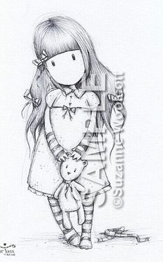 New Products : gorjuss ART, - Glasgow Artist Suzanne Woolcott Colouring Pages, Adult Coloring Pages, Coloring Books, Santoro London, Black And White Sketches, Paint Cards, Digi Stamps, Mixed Media Canvas, Cute Drawings