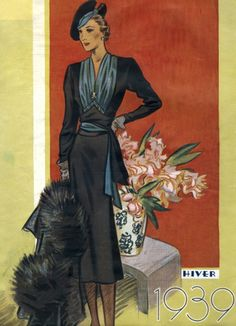 30s Fashion Black Dress and Fur Stole | 1930s Fashion Art Prints
