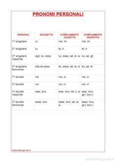 Schede didattiche di italiano. Pronomi personali. Sul blog trovi la versione PDF da stampare.
