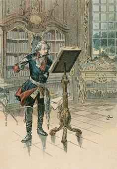 Friedrich II. (der Große), König von Preußen (1740–86); 1712–1786. Der König beim Flötenspiel in der Bibliothek von Sanssouci.