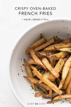The Perfect Homemade Oven Baked Fries - This simple and delicious recipe guarantees crispy oven baked fries every single time, and are as addictive as any takeout paper filled bag. Oven Baked French Fries, Crispy French Fries, Real Food Recipes, Vegetarian Recipes, Whole30 Recipes, Baking Recipes, Veggie Recipes, Snack Recipes, Seasoned Fries