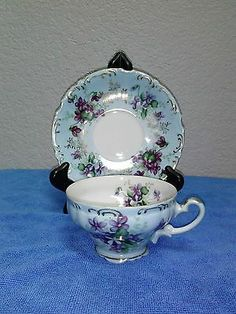 Vintage hand painted cup & saucer by Lefton