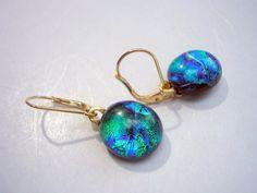 Dichroic fused glass earrings