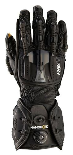 The Knox Handroid Gloves exoskeletal flexible finger spines cover the knuckles, fingers and thumb and give full unrestricted movement. The spines link to a c. Tactical Armor, Tactical Suit, Motorcycle Equipment, Motorcycle Gloves, Airsoft Helmet, Carapace, Tac Gear, Armor Concept, Concept Weapons