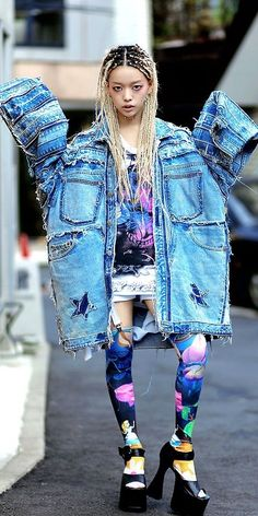 hirari ikeda, fashion, style inspiration, braids, hairstyle, blonde hair, denim outfit, streetstyle
