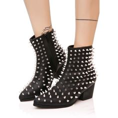 Y.R.U. Aurora Spiked Booties ($165) ❤ liked on Polyvore featuring shoes, boots, ankle booties, vegan boots, pointed toe booties, vegan booties, black boots and black pointed toe booties