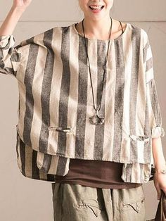 Shop Linen Tops - Gray Stripes Casual Linen Linen Top online. Discover unique designers fashion at StyleWe.com.