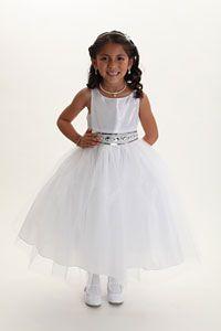 Flower Girl Dresses - Girls Dress Style 548- WHITE Taffeta and Tulle Sleeveless Dress