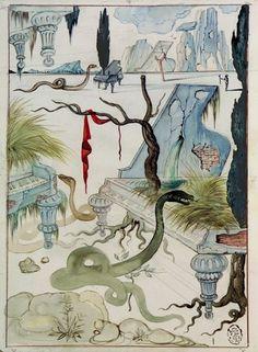 Salvador Dali, Le maison sans fenetres, 1946 ink + watercolor