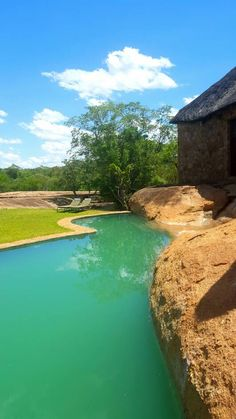 Part of the swimming pool at our luxury safari lodge.