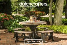 Eco-friendly, durable, and stylish, our LuxCraft 4' Round Poly Dining Set will transform and outdoor space into a fun, chic eatery that you can enjoy on any occasion. The 4' round pedestal table offers plenty of room for your food, drinks, and sides, while the four curved benches offer a deep, sturdy seat that makes it easy to relax and enjoy your time together. Our durable poly furniture offers a solution to outdoor living that required little to no maintenance. #dutchcrafters #summer #home Outdoor Dining Chairs, Dining Area, Outdoor Living, Outdoor Decor, Hardwood Furniture, Dining Furniture, Outdoor Furniture Sets, Curved Bench, Fine Woodworking