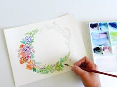 Free Floral Wreath Watercoloring Page: grow creative blog